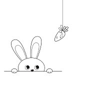 Outline of adorable peeking rabbit looking at hanging carrot. Vector illustration isolated on white background