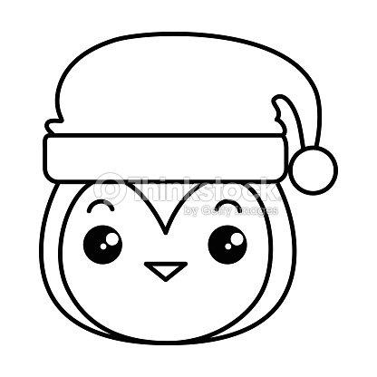 4724c5e38a1f6 Cute Penguin Head With Christmas Hat Kawaii stock vector - Thinkstock