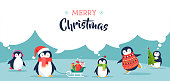 Cute penguins set of illustrations - Merry Christmas greetings