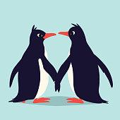 Cute penguins in love. Family of birds holding their wings and looking at each other. Colorful vector illustration in flat cartoon style on blue background. Animal couple.
