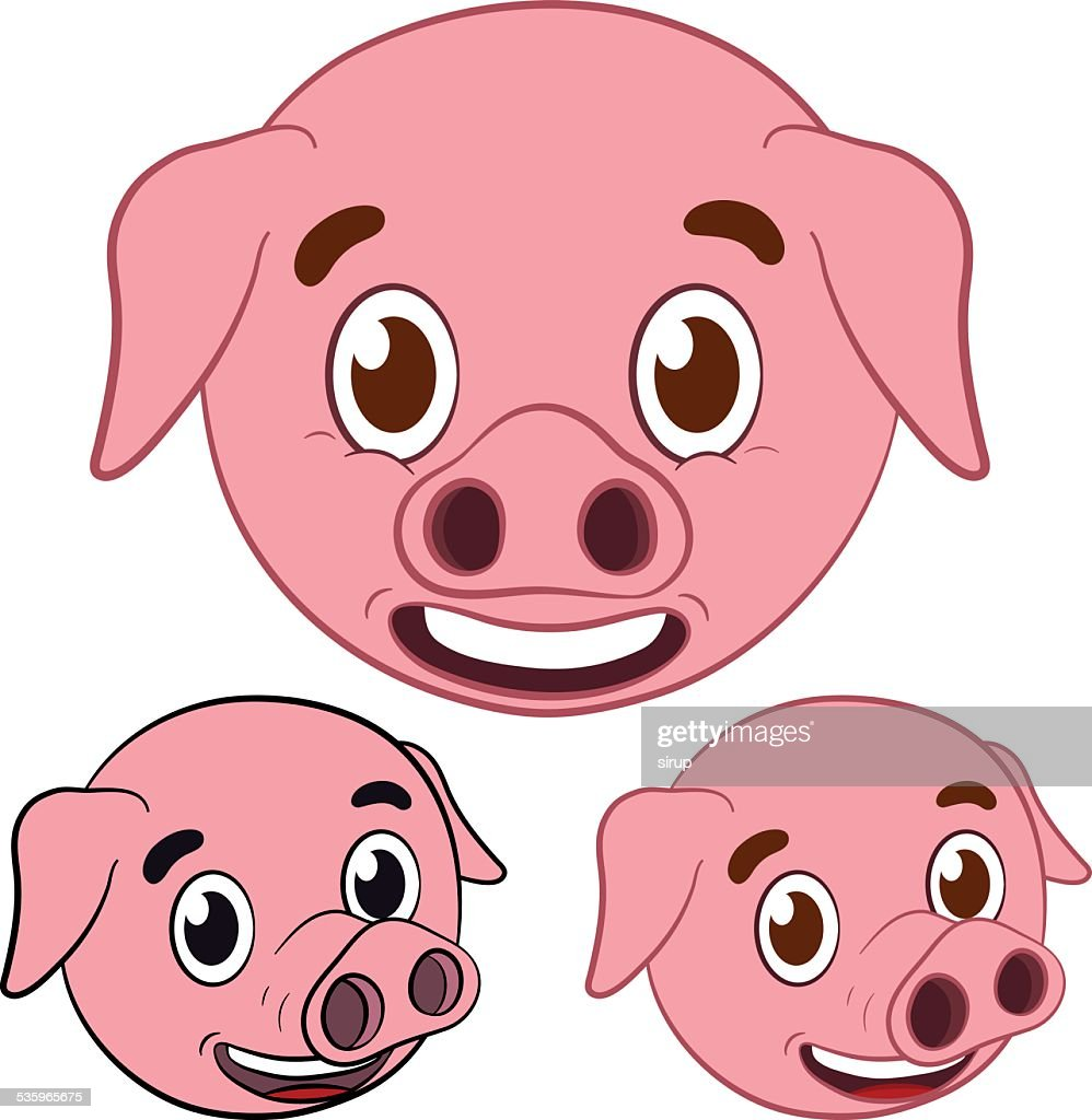 cute pig cartoon head set : Vector Art