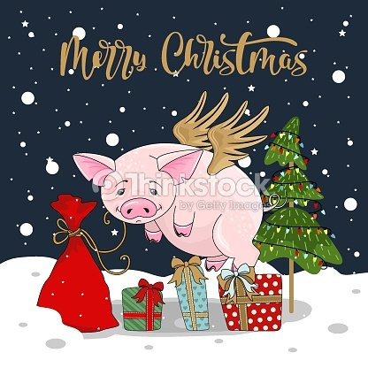 cute pig on christmas and new year background vector illustration vector art
