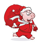 Cute piggy in Santa hat with bag isolated on white. Christmas gift bag. Cartoon characters vector illustration good for gift card