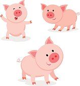 Vector illustration of funny pigs vector.