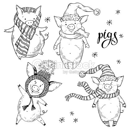 ccd3cd7501d34 Cute Pigs Vector Cartoon Illustration Isolated Handdrawn Element For ...