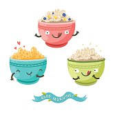 Cute porridge characters and 'Good morning!' ribbon. Healthy breakfast concept. Vector colorful illustration with three bowls of oatmeal, berries, bananas and cereals isolated on white