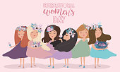 """Cute poster in pastel color """"International Women's Day"""" with flowers and fairy. Editable vector illustration"""