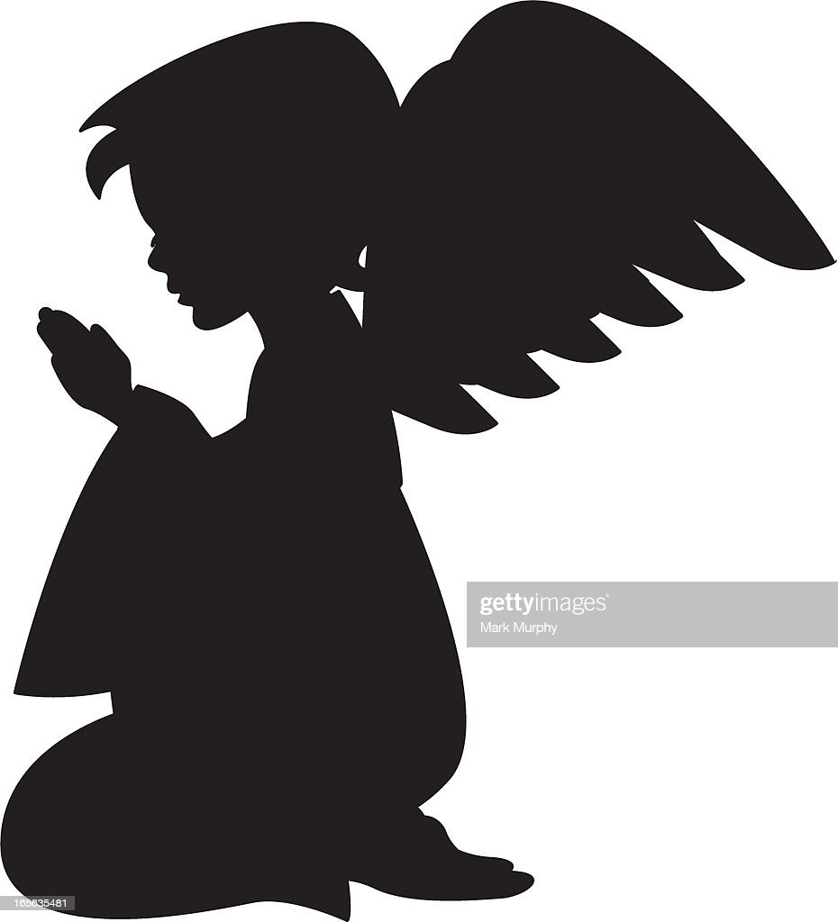 Cute Praying Angel Silhouette Vector Art | Getty Images