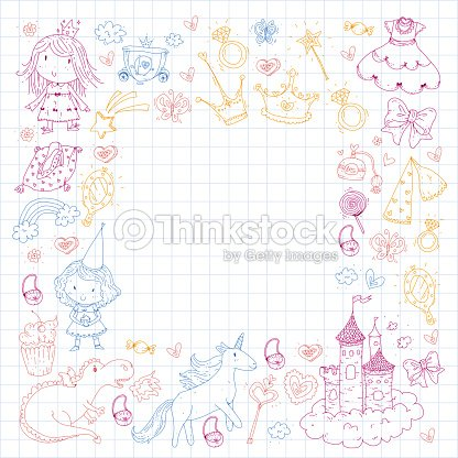 Cute Princess Icons Set With Unicorn Dragon Girl Wallpaper Baby