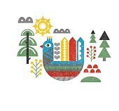 Cute print with bird in the forest. Vintage vector illustration in scandinavian style.