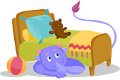 Cute purple monster with tail hiding under the bed and putting finger up to his lips. Monster showing silence sign under the bed of a child. Vector cartoon illustration isolated on white background.
