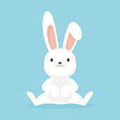 Cute rabbit character, Easter bunny vector illustration.