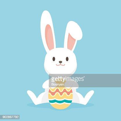 Niedliche Kaninchen Mit Ostereier Frohe Ostern Hase
