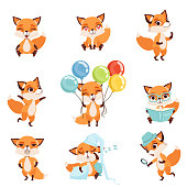 Set of cute red foxes showing various emotions and actions. Laughing, sitting, walking, dancing, sleeping, reading, angry, holding colorful balloons. Flat vector for children book, print or sticker.