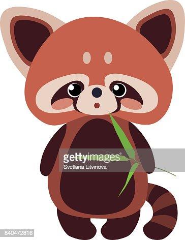 Susse Rote Panda Mit Bambus Vektorgrafik Thinkstock