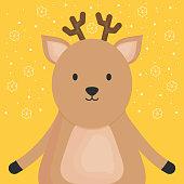 cute reindeer adorable character vector illustration design