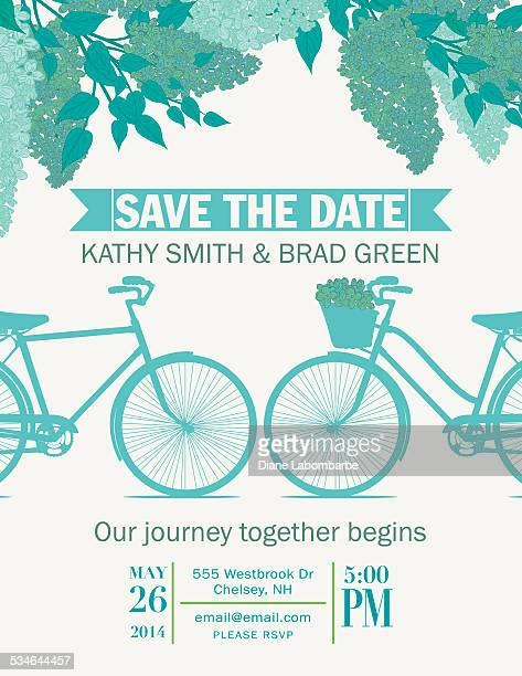 Cute Retro Bicycle Save The Date Wedding Announcement