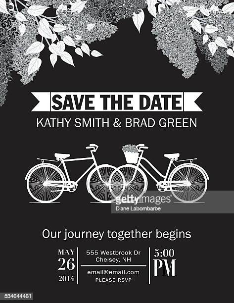 Linda bicicleta Retro guardar la fecha de boda anuncio