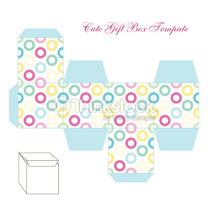 cute retro square gift box template with circles ornament to print