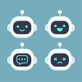 Cute robot head avatar set. Chat bot vector icon with different faces.