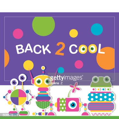 cute robot schoolchildren greeting card : Vector Art