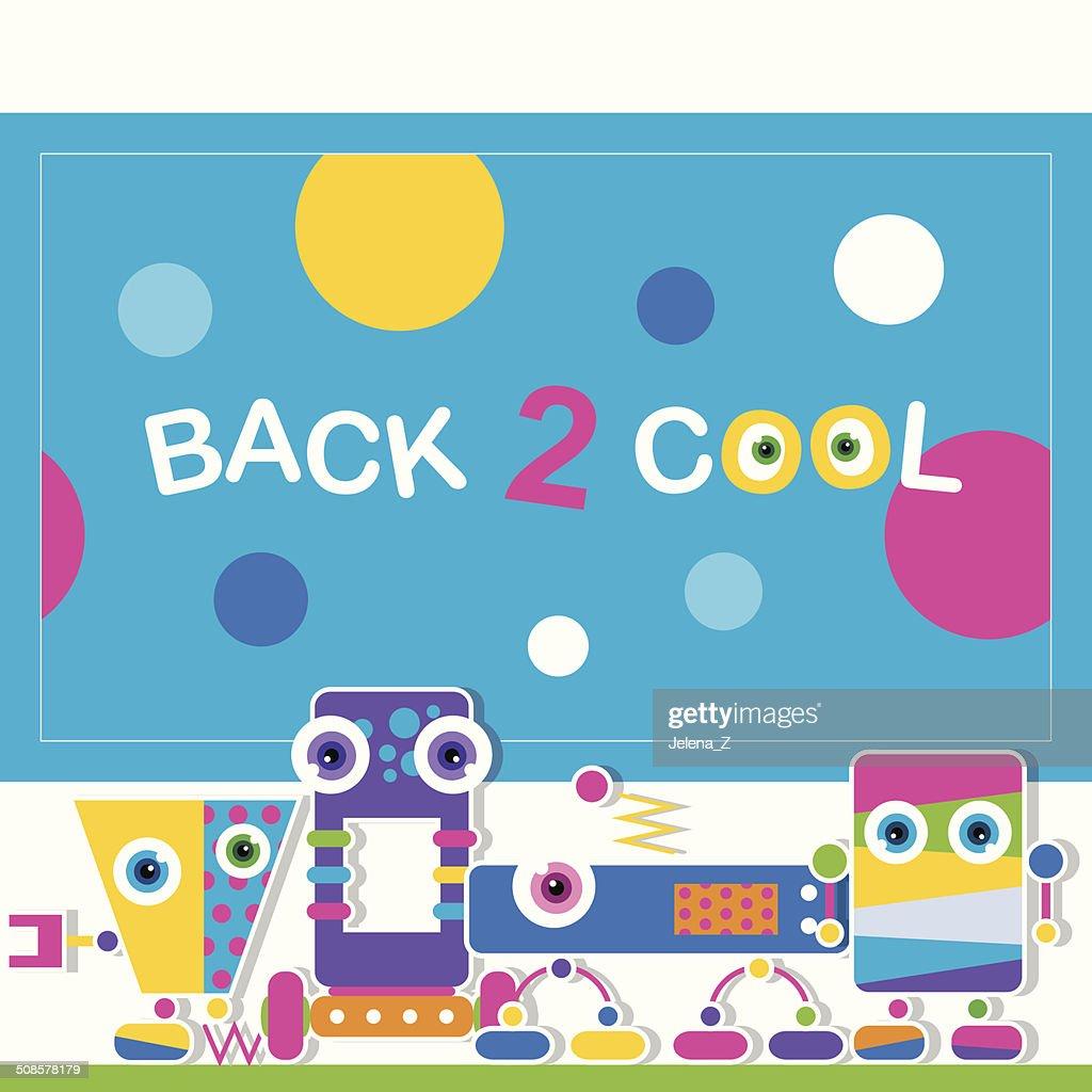 かわいいロボット子供グリーティングカード : ベクトルアート