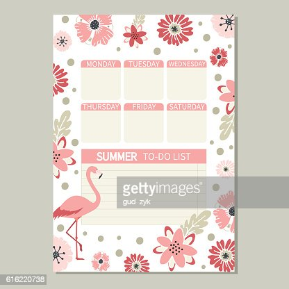 Cute romantic vector page with flamingo and flowers. : Clipart vectoriel