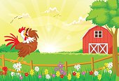 vector illustration of cute rooster crowing in the farm fence