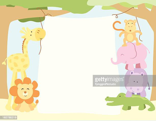 Cute Safari Animals Hanging a Banner