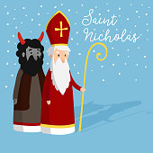 Cute Saint Nicholas with devil and falling snow. Christmas invitation card, vector illustration. Winter background