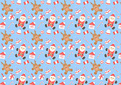 Cute Santa Claus and deer cartoon design seamless pattern. Vector illustration wallpaper and background.