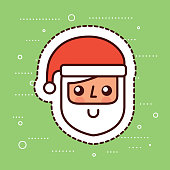 cute santa claus face smile cartoon vector illustration