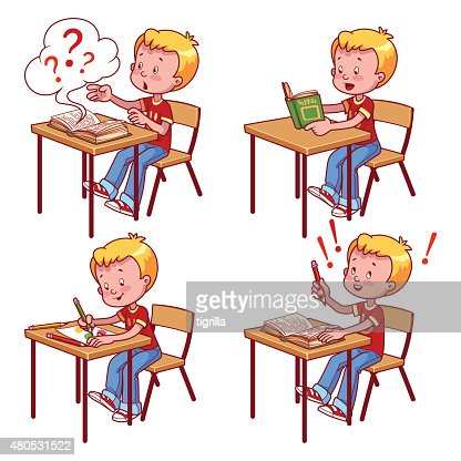 Cute schoolboy behind a school desk : Vector Art
