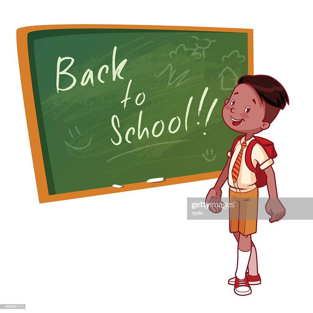 Cute schoolboy in uniform stands near the school board : Vector Art