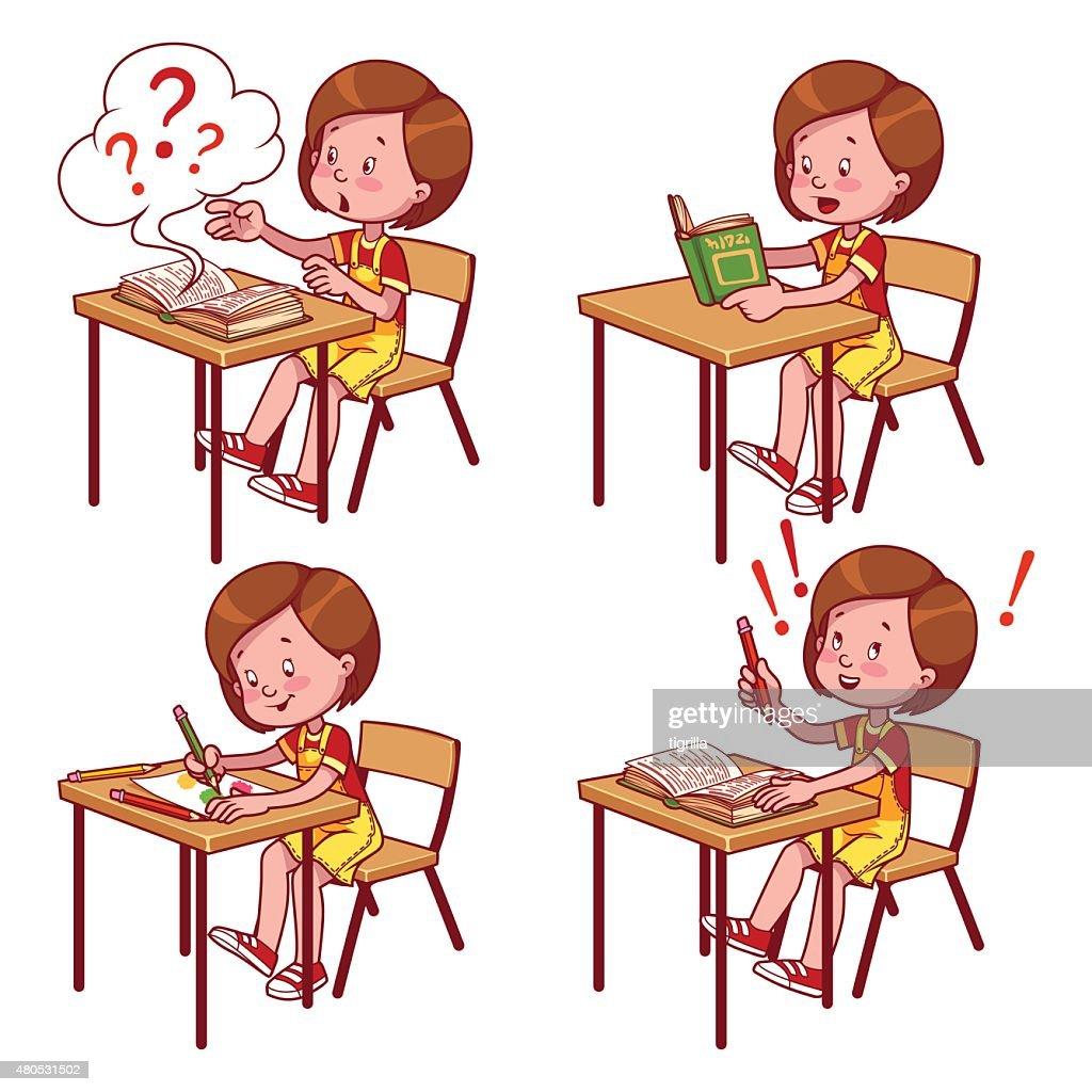 Cute schoolgirl behind a school desk : Vector Art