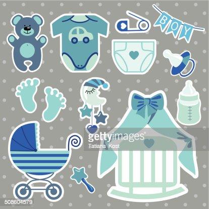 Linda scrapbooking elementos para recién nacido bebé niño : Arte vectorial