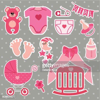 Cute scrapbooking elements for newborn baby girl : Vector Art