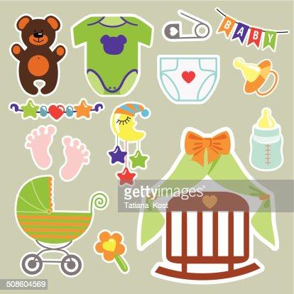 Engraçado elementos de scrapbooking para recém- nascidos : Arte vetorial