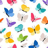 Cute seamless butterfly pattern. Spring colored butterflies flying in sky vector illustration