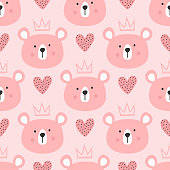 Cute seamless pattern for children. Repeated heads of bears with crowns and hearts. Drawn by hand. Endless girly vector illustration.