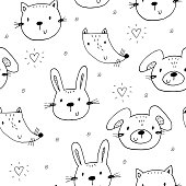 Cute seamless pattern with funny Animals. Vector Illustration
