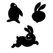 Easter themed rabbit illustration for gift card certificate sticker, badge, sign, stamp, logo, label, icon