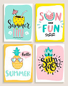 Cute set of 4 bright summer cards with cocktail,sun and fun,pineapple,watermelon and handdrawn lettering and other fun elements. Perfect for summertime posters,banners,gift,print. Vector illustration.
