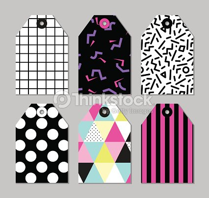 Cute Set Of 80s And 90s Style Trendy Tags Vector Art   Thinkstock