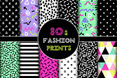 Cute set of 80's style geometric trendy seamless patterns for your decoration