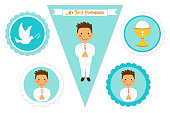 Cute set of printable elements for First Communion for boys as cake toppers, bunting flags, labels or stickers