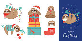 Cute sloths, funny Christmas illustrations with Santa Claus costumes, hat and scarfs, greeting cards set - stock vector banner