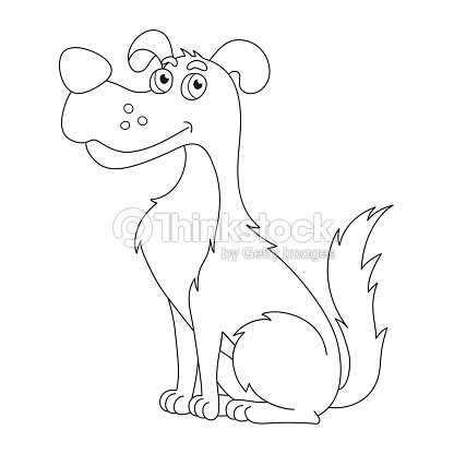 Cute Sly Dog Coloring Book Page For Children Vector Art