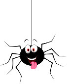 vector illustration of cute spider cartoon for you design