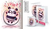 Cute sport panda - mockup for your idea. Vector eps 10